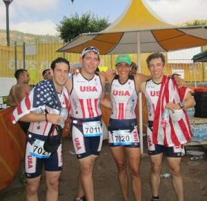 At the finish line with Ryan, Chad and Ari!