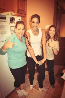 Sandra and Annette helped me put my race tattoos on the night before. Of course there was tons of laughter!