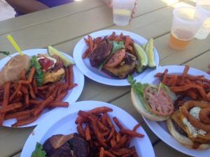 Post race-- bacon cheeseburgers at The Jetty!
